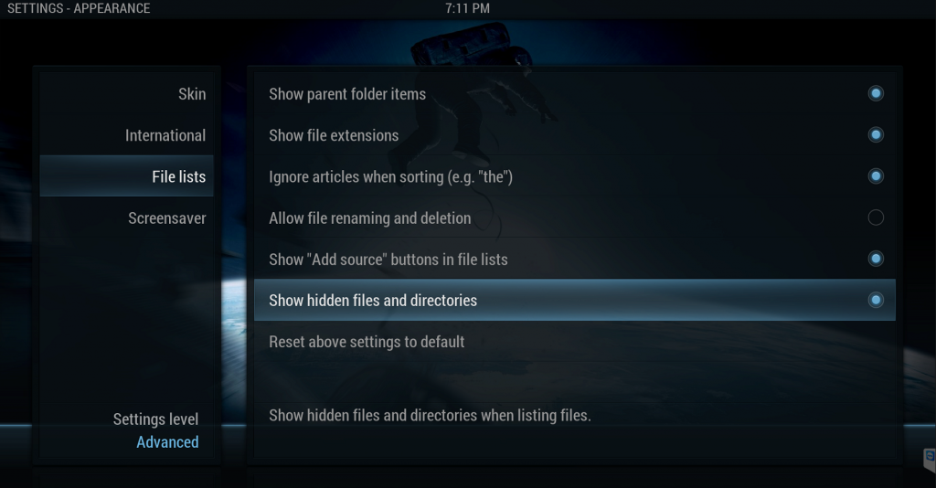 Kodi Show Hidden Files