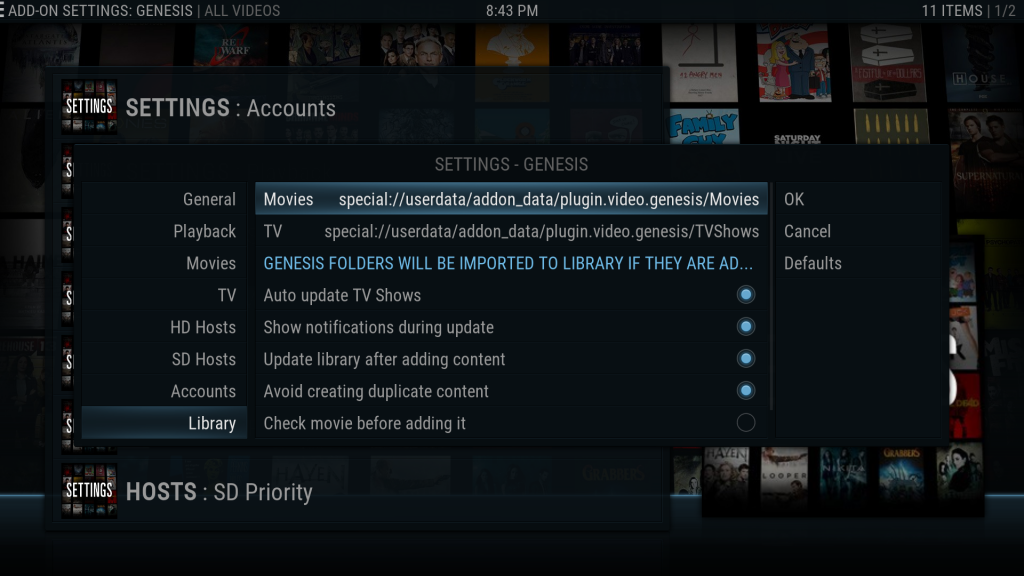 Kodi Genesis Library Paths