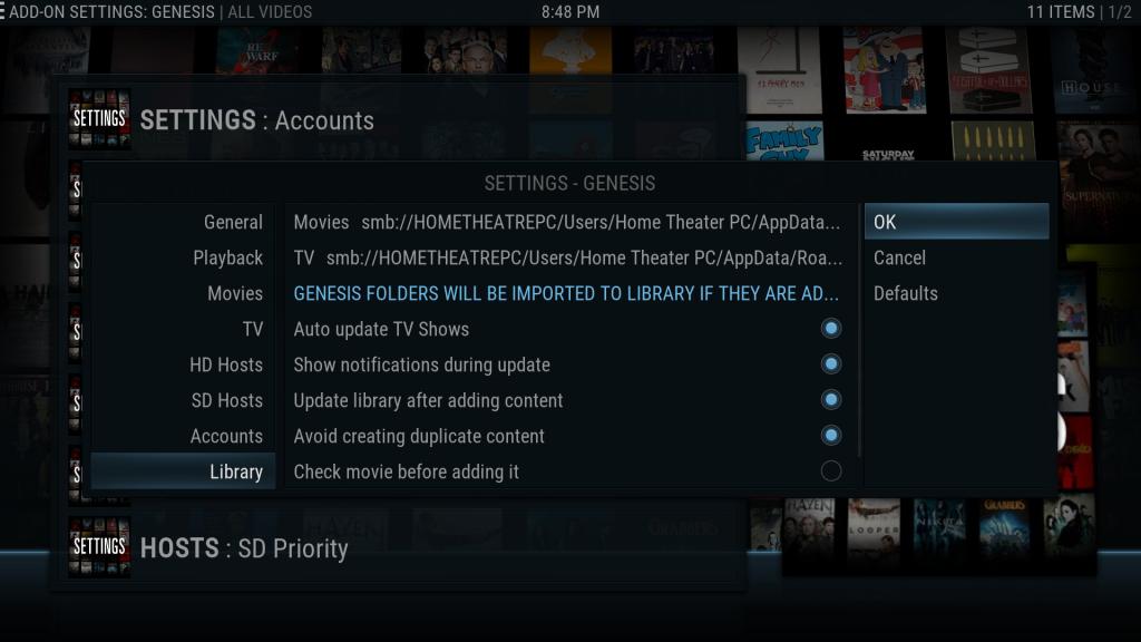 Kodi Genesis SMB Shared Library Paths
