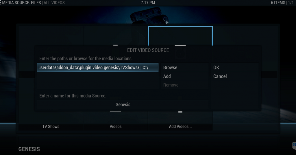 Kodi Add Video Source From Add-on Library Directory