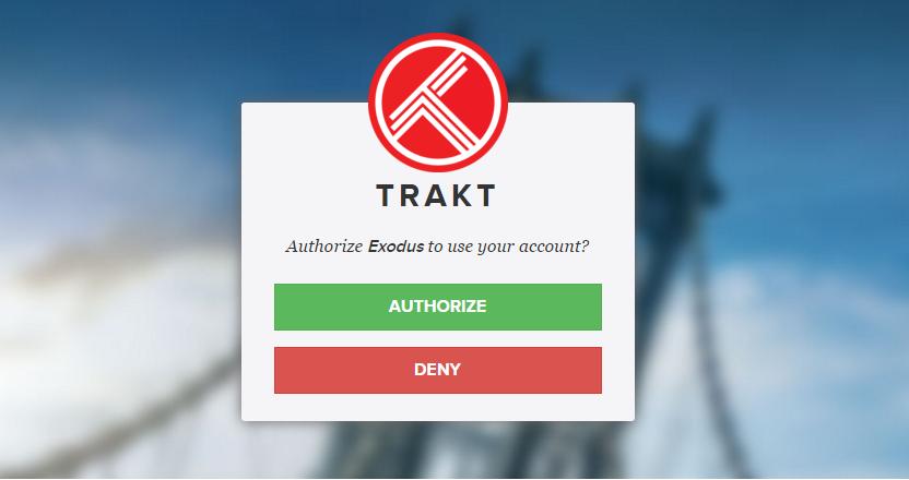 Trakt Exodus Authorize