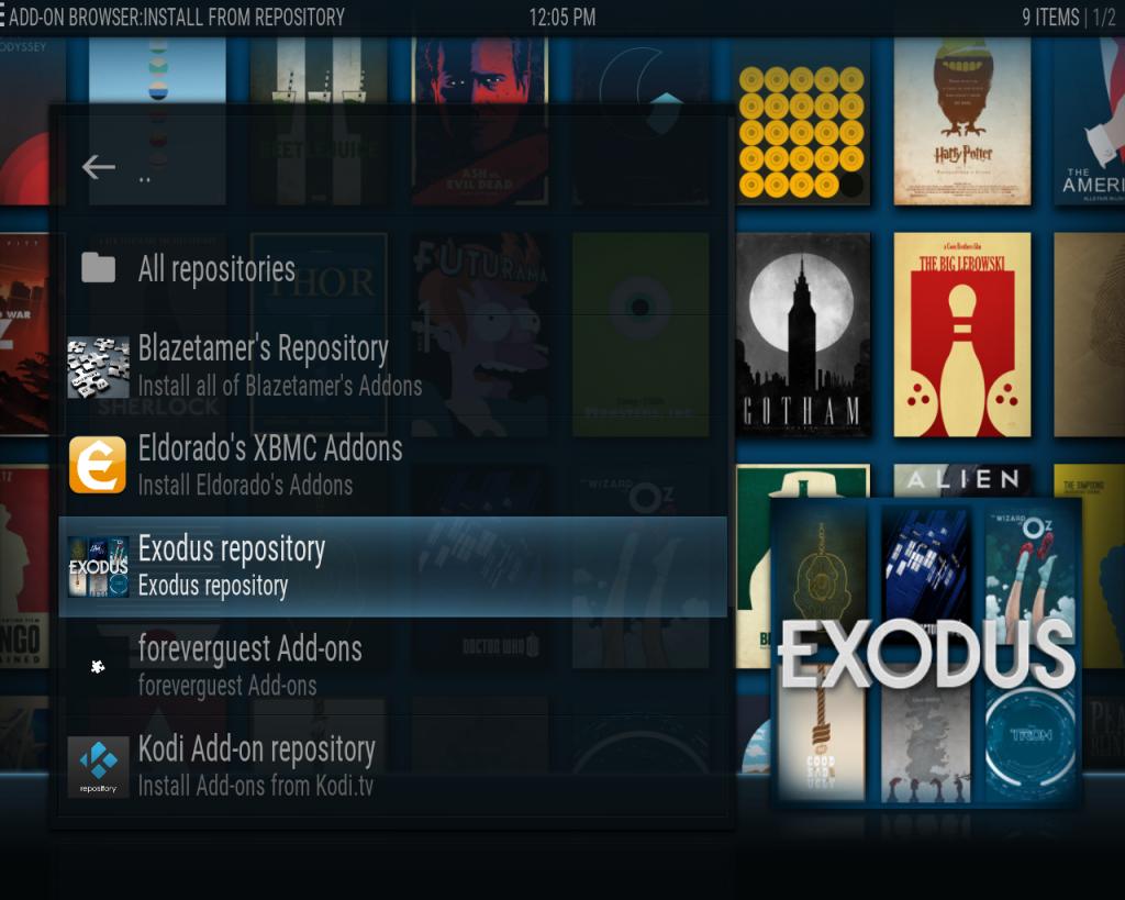 Kodi Exodus Install from Repo