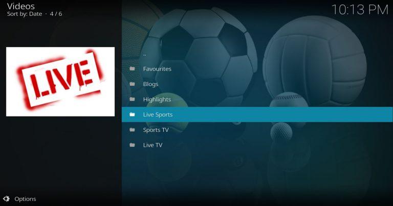 SportsDevil Main Menu