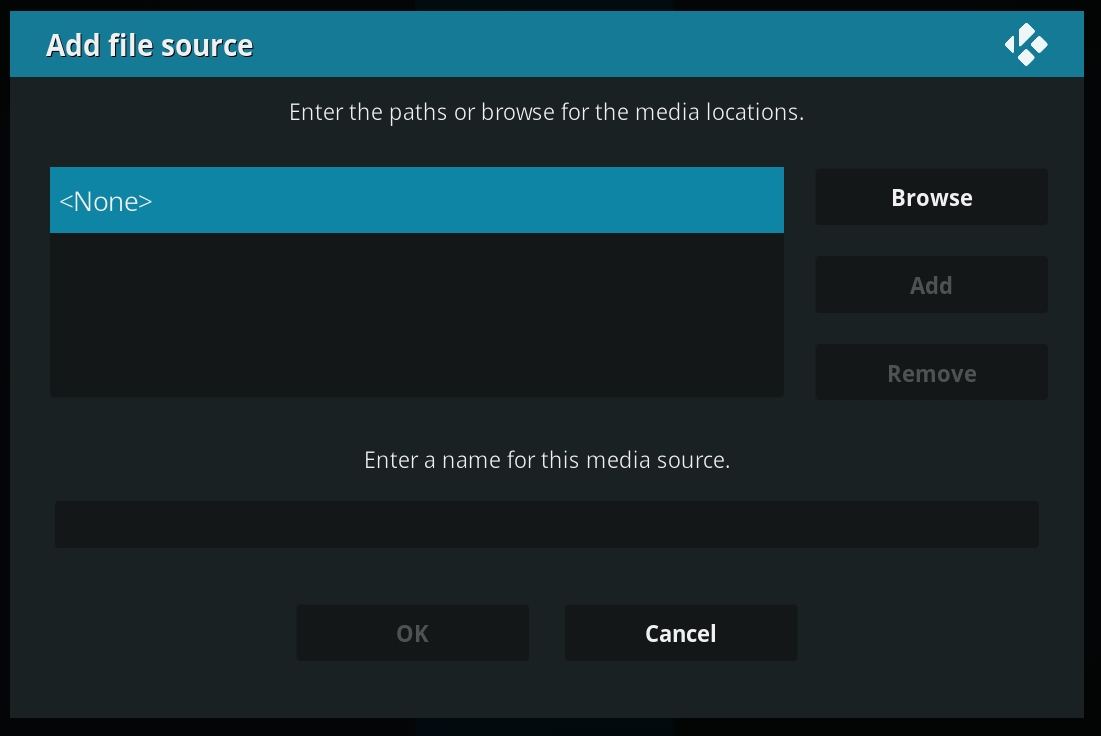 Kodi Add Source Screen