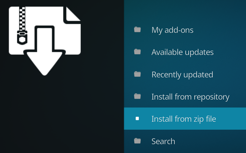 Kodi Add-ons Install from zip file