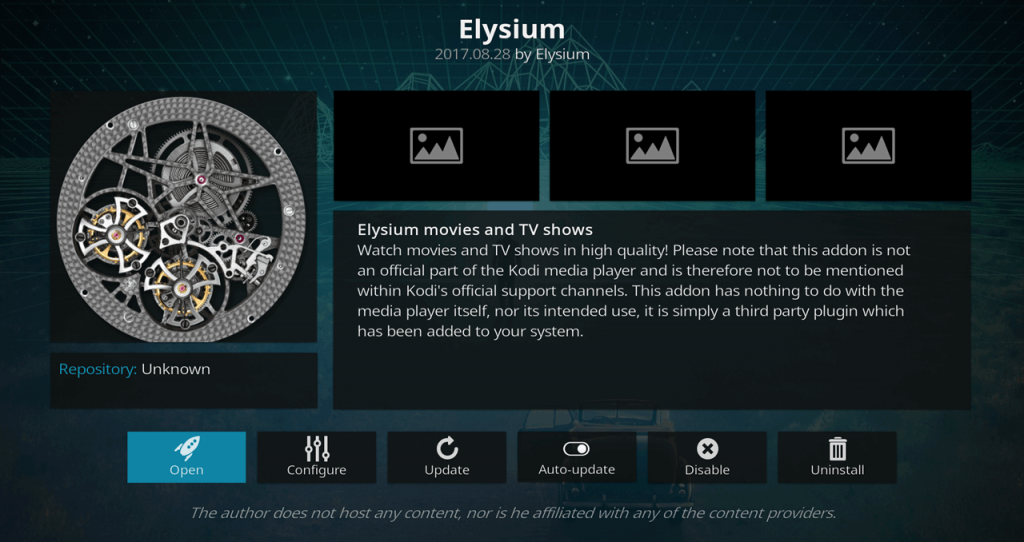Elysium Add-on installed and ready to open