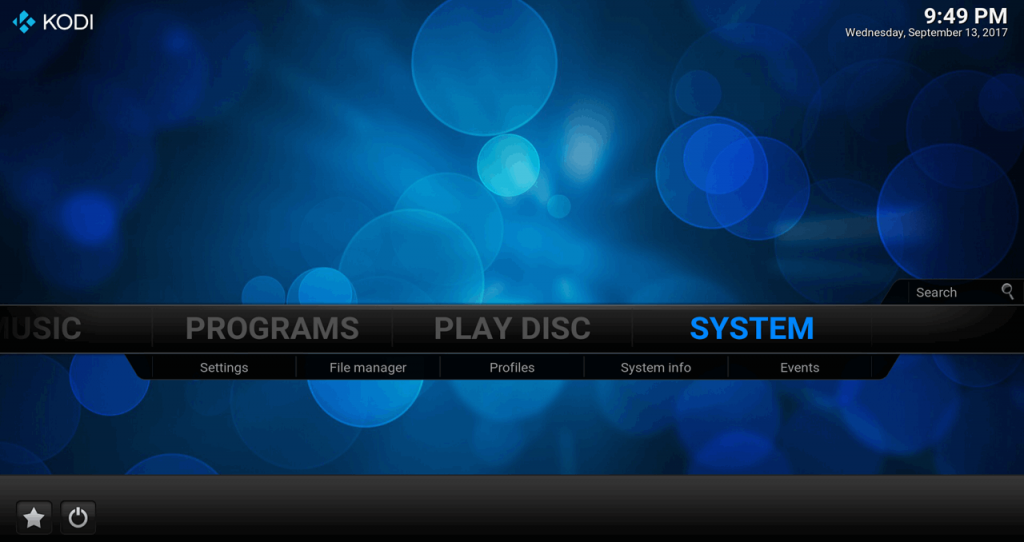 Kodi 17 Confluence Main Screen System (Settings)