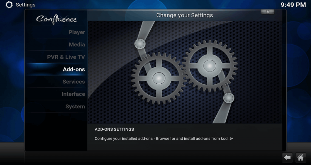 Kodi 17 Confluence Settings / System > Add-ons