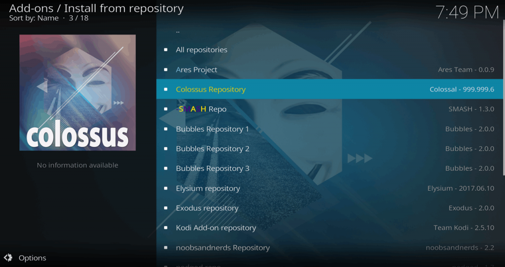 Kodi Install From Repository Colossus