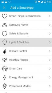 SmartThings Add a SmartApp > Lights & Switches