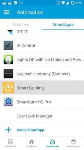 SmartThings SmartApps > Smart Lighting