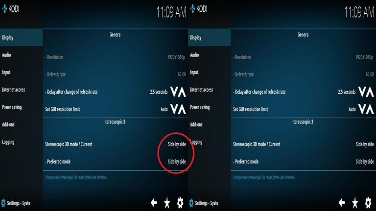 Kodi VR Steroscopic 3D Mode
