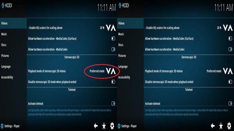 Kodi VR Steroscopic 3D Video Playback