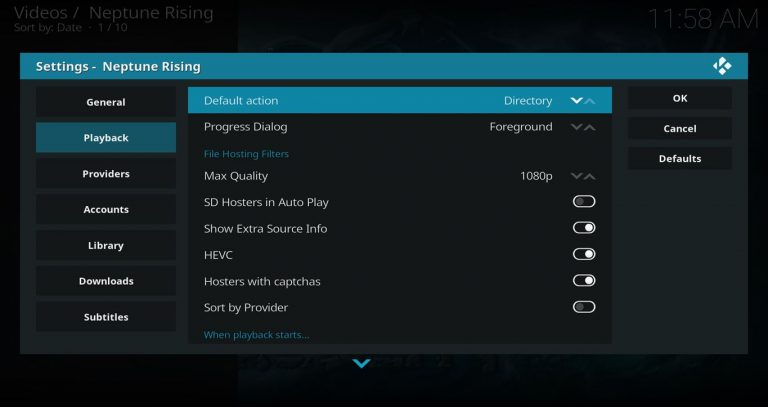 Playback Settings – Set Default Action to Directory