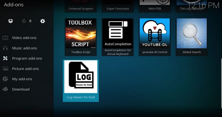 Program Add-on – Log Viewer for Kodi