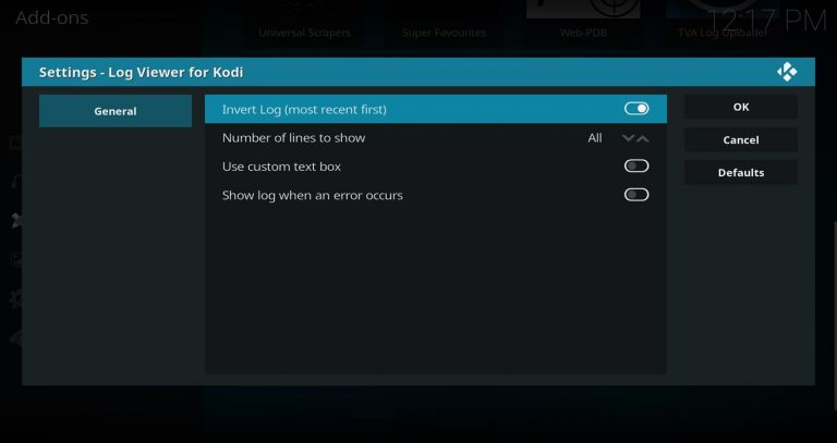 Settings – Log Viewer for Kodi