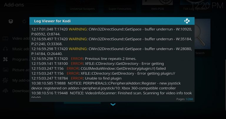 Viewing Kodi Error Log