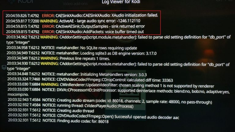 CAESingXAudio ActiveAE voice buffer timed out initialization failed – Kodi Xbox One