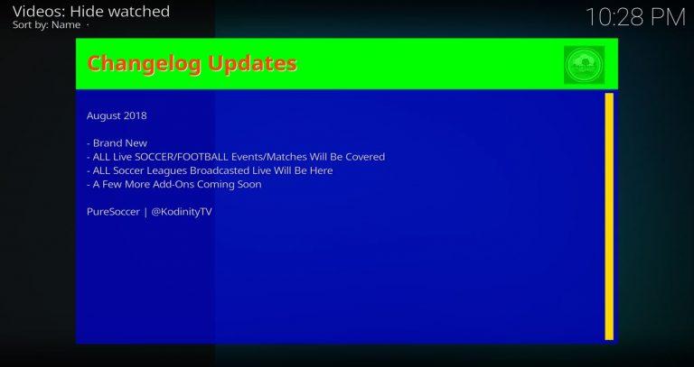PureSoccer Kodi Add-on Updates