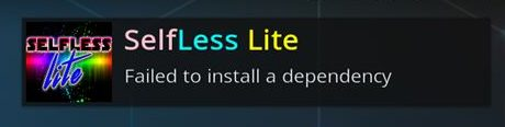 Selfless Lite Failed to Install a Dependency
