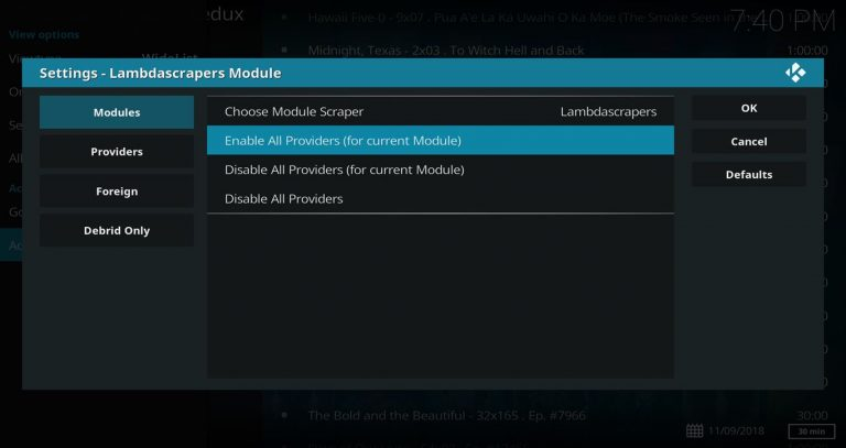 Enable All Providers (for current Module)