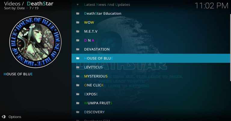 DeathStar Kodi Main Menu