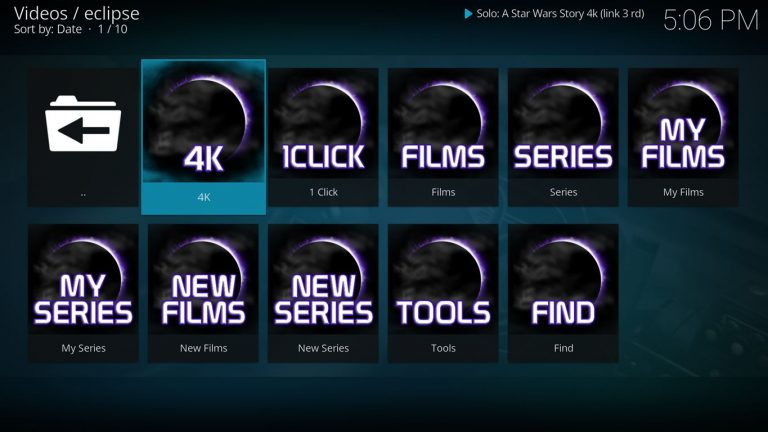 Eclipse Kodi Add On Main Menu