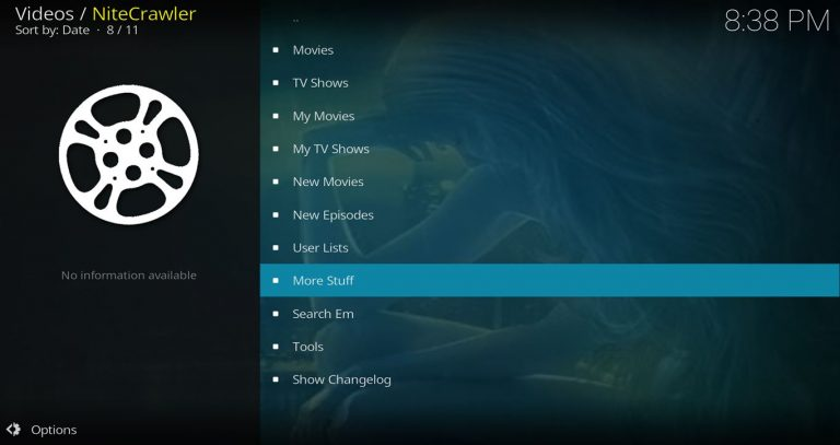NiteCrawler Kodi Add-on Main Menu