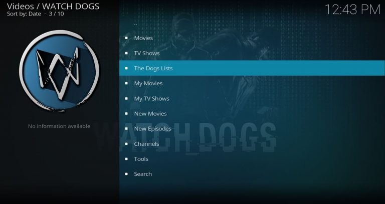 Watch Dogs Kodi Main Menu