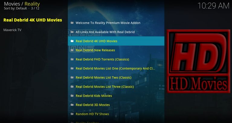 Reality Kodi Add On Main Menu