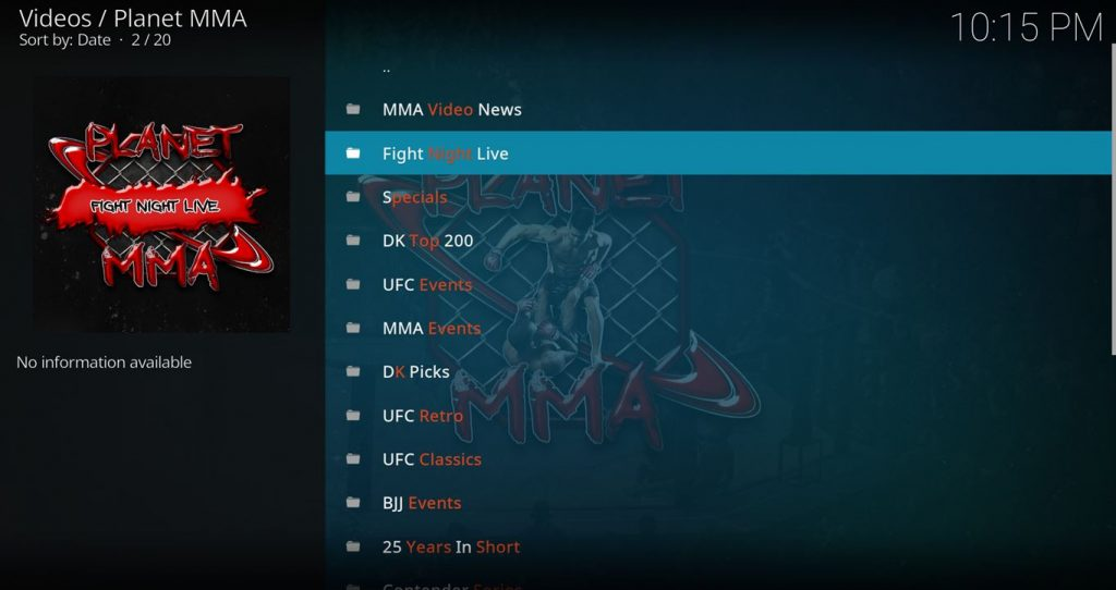 Planet MMA Main Menu