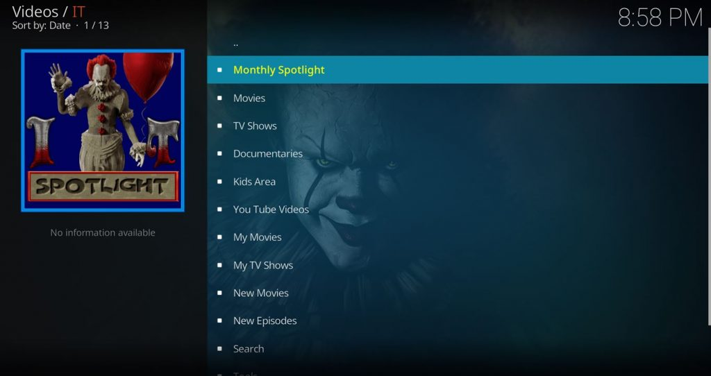 IT Kodi Add On Main Menu